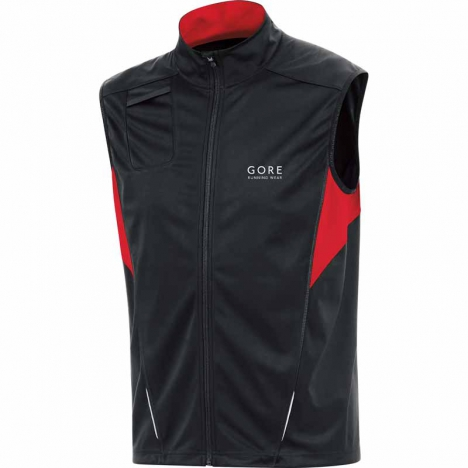 GORE Running FLASH Windstopper® Soft-Shell Weste black/red für Herren