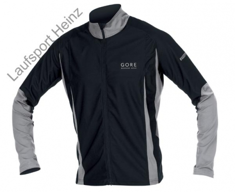 GORE Running VERTICAL Shirt  Windstopper® black/silver-grey for men S